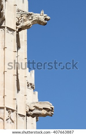 Gargoyles at La Lonja monument in Palma de Mallorca, Spain - stock photo