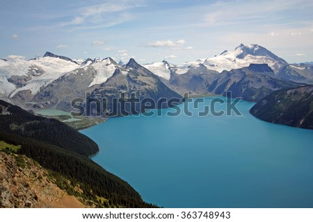 Garibaldi Lake and Massif in Garibaldi Provincial Park near Whistler, BC, Canada. - stock photo