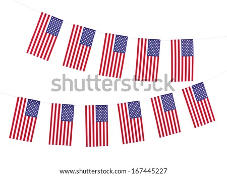 Garland of flags isolated on white - stock photo
