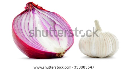 Garlic and red onion half closeup macro, isolated on white - stock photo