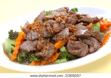 Garlic Beef with Broccoli - stock photo