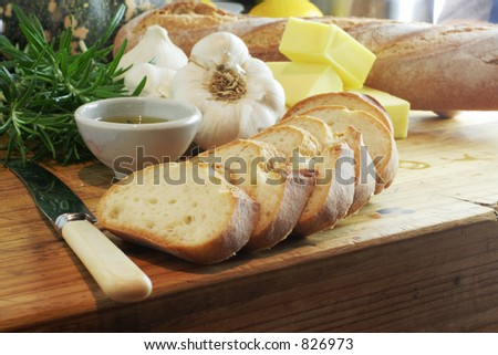 Garlic Bread landscape - stock photo