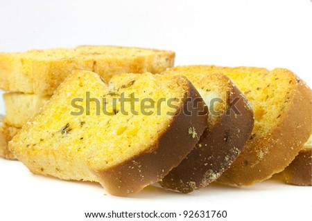 garlic bread on a white background - stock photo