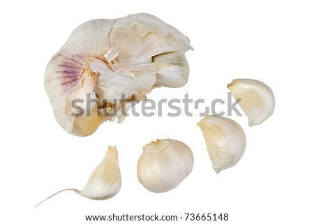 Garlic cloves, isolated on white. - stock photo