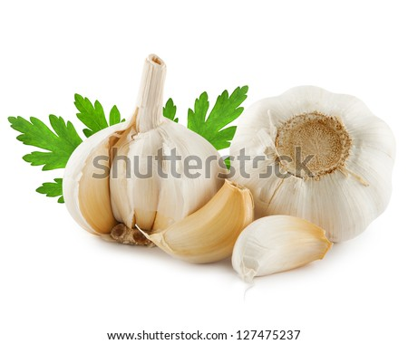 garlic decorated parsley leaves isolated on white background - stock photo