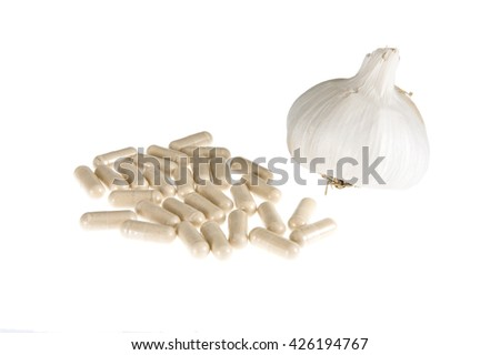 garlic food supplement pills - stock photo