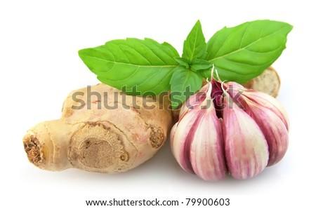 garlic, ginger and basil close up - stock photo