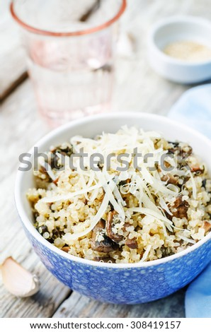 garlic mushroom quinoa on a white wood background. the toning. selective focus - stock photo