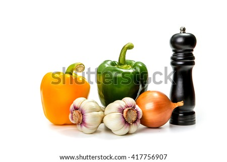 garlic, onion, green and red bell pepper - stock photo