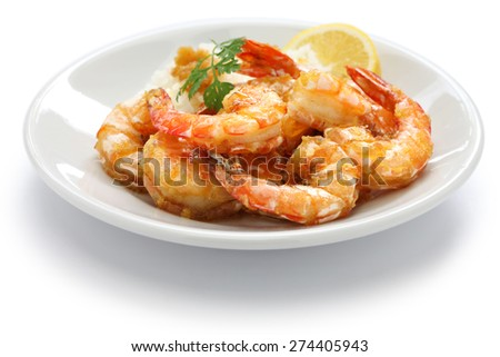 garlic shrimp, hawaiian food isolated on white background - stock photo