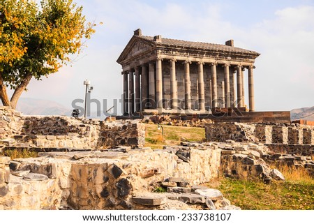 Garni Pagan Temple, the hellenistic temple in Republic of Armenia - stock photo