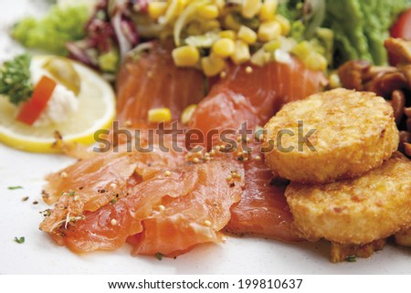 Garnished smoked salmon with motley salad and potato patties, served on plate - stock photo
