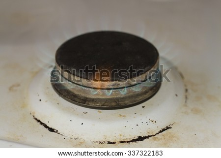 gas burner with burning gas - stock photo