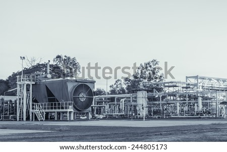 Gas compressor for gas lift into crude well - stock photo