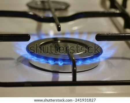 gas cooker with blue fire  - stock photo