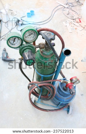 Gas Cylinder with pressure gauge - stock photo