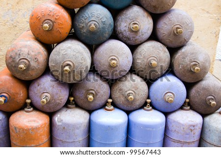 gas cylinders - stock photo