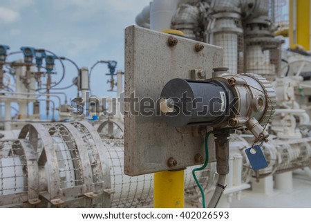 Gas detector install near gas compressor to detect any leaking of gas for safety - stock photo