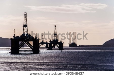 gas extraction platform in cromarty firth - stock photo