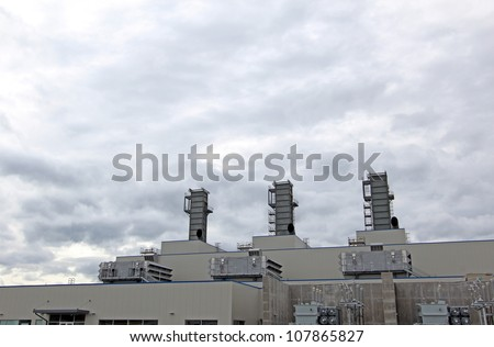 gas fired combined cycle power plant - stock photo