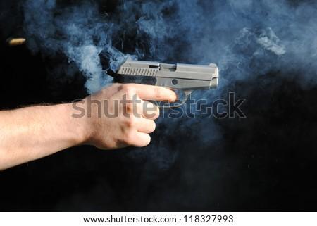 Gas gun shot - stock photo
