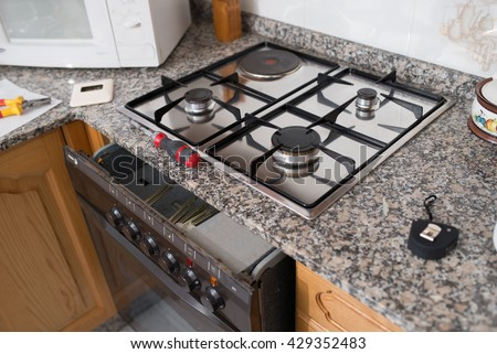 Gas hob and oven in a kitchen, Spain. - stock photo