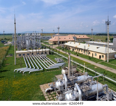 Gas industry, gas injection, storage and extraction from underground storage facilities. - stock photo