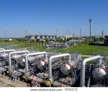 Gas industry, gas injection, storage and extraction from underground storage facilities - stock photo