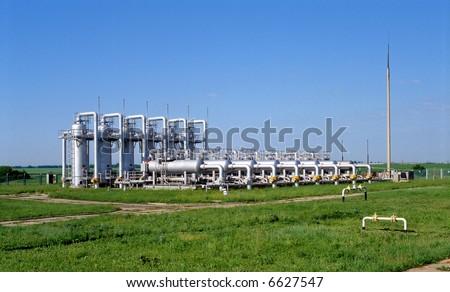 Gas industry, underground gas storage facilities. - stock photo