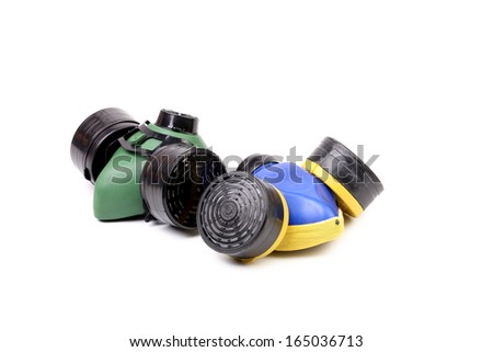 Gas mask blue and green. Isolated on a white background. - stock photo