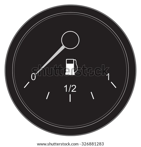 Gas meter. Low fuel. Raster version. Isolated on white. - stock photo