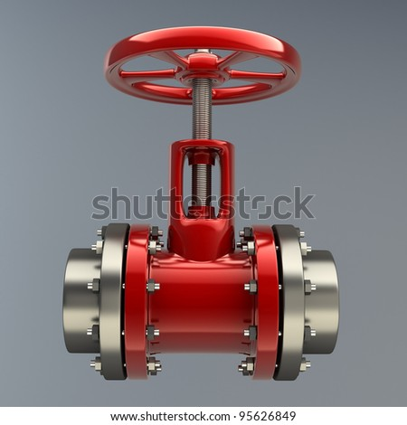 gas pipe with a red valve - stock photo