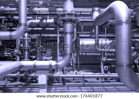 Gas pipeline in a factory. - stock photo