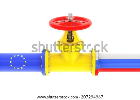 Gas pipeline with Russian and European Union flags on a white background - stock photo