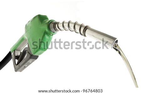 Gas pouring with green pump isolated on white - stock photo