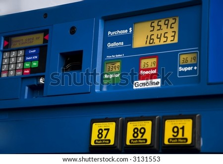 Gas prices and tank fill-up prices - stock photo