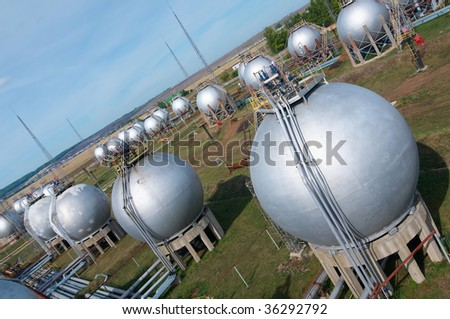 gas-processing industry. storage of finished product - stock photo