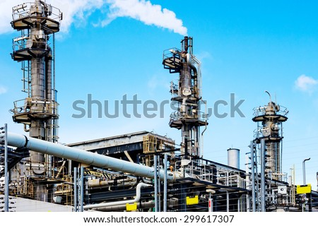 Gas processing plant - stock photo
