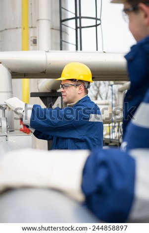 Gas Production Operator - stock photo