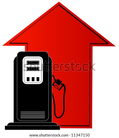 gas pump and up arrow - rising cost of fuel - stock photo