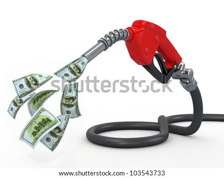 Gas pump nozzle and dollar on white background. 3d - stock photo