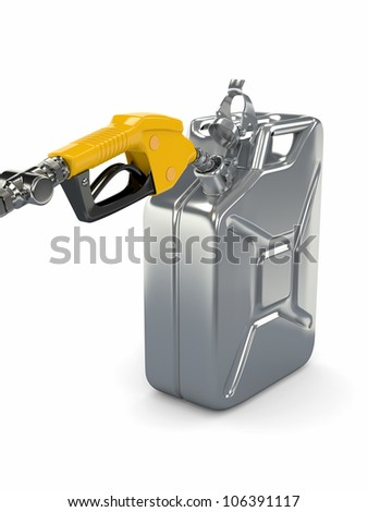Gas pump nozzle and fuel can on white background. 3d - stock photo