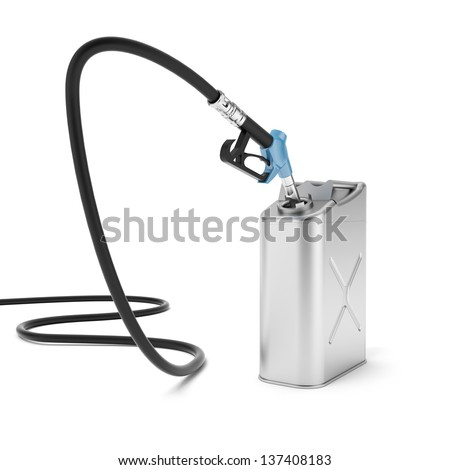 Gas pump nozzle and jerrycan - stock photo