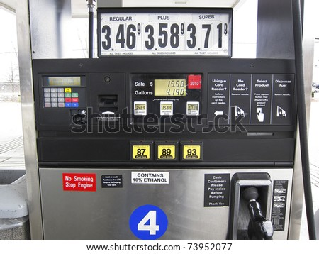 Gas pump nozzle , octane ratings and prices - stock photo