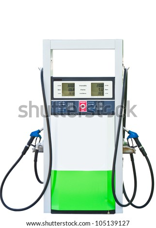 Gas pump nozzles in a service station with clipping path - stock photo