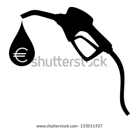 Gas pump silhouette with big drop and symbol of euro inside. JPEG version - stock photo