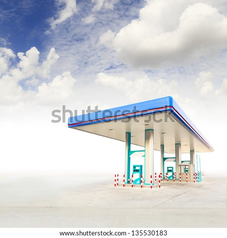 Gas Station and blue sky - stock photo