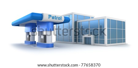 Gas station and market over white - stock photo