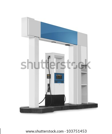 gas station construction isolated on white background - stock photo