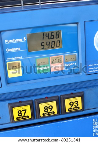 Gas station fuel pump close up - stock photo